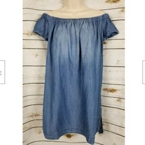 Cloth & Stone Chambray Off Shoulder Dress Blue